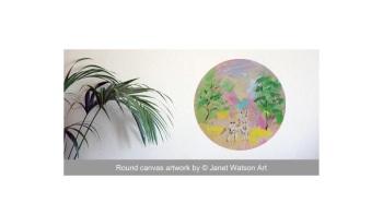 Love Unicorn - Round Canvas 30 cm - Acrylic and mixed media - Original art (c) Janet Watson Art