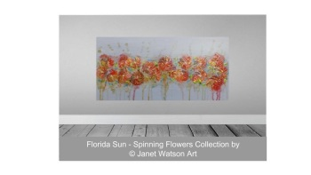 Florida Sun - Spinning Flowers Collection - Original Art - Size; 100 x 50 cm - Acrylic and mixed media by (c) Janet Watson Art