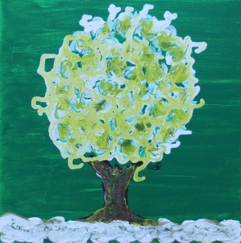 Winter Tree Green - Spinning Flower Tree - Karst Collection - Size: 12 x 12 inch - Acrylic and Mixed Media - Canvas over Wood by (c) Janet Watson Art