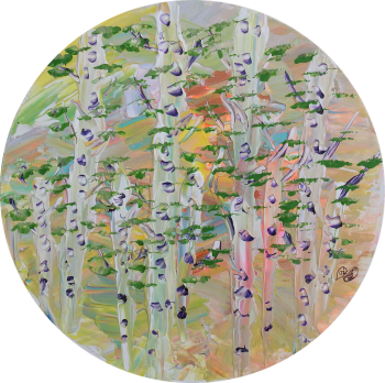Dream - Colour Tree Trunk Collection- 30cm Round Canvas - Acrylic and mixed media - Original Art by (c) Janet Watson Art