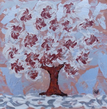 Snow Tree Red - Spinning Flower Tree Collection - Original Art - 30 x 30 cm - Mixed media by Janet Watson Art