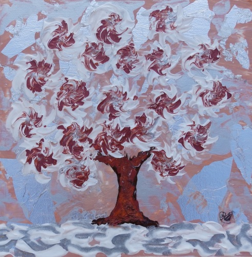 Snow Tree Red - Spinning Flower Tree Collection - Original Art - 30 x 30 cm