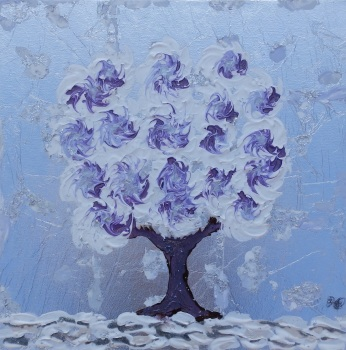 Snow Tree Lilac - Spinning Flower Tree Collection - Original art - 40 x 40 cm - Mixed media by Janet Watson Art