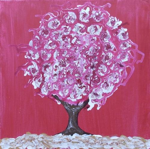Winter Tree Red - Spinning Flower Tree Collection - Original art - 40 x 40