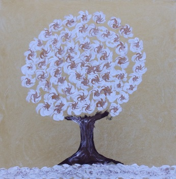 Winter Tree Gold - Spinning Flower Tree Collection - Original art - 20 x 20 inch by Janet Watson Art