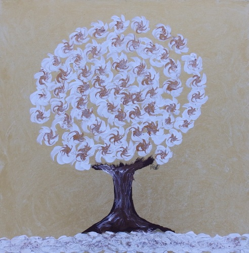 Winter Tree Gold - Spinning Flower Tree Collection - Original art - 20 x 20