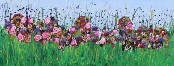 Secret Meadow - Original Art - 100 x 40 cm - Flower Meadow Collection by (c) Janet Watson Art