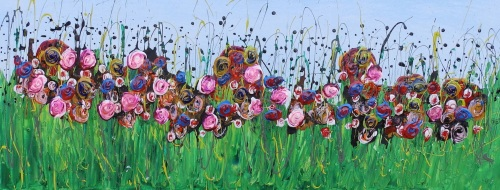Secret Meadow - Original Art - 100 x 40 cm - Flower Meadow Collection by (c