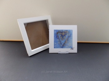 Free Frame * Blue and Gold Energy Hearts - Energy Hearts Collection 15 x 15 cm  by Janet Watson Art