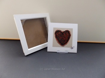 Free Frame * Inner Love Red - 15 x 15 cm Square - has a white boarder around the edge by Janet Watson Art