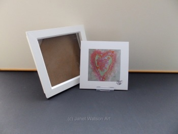 Free Frame * Pale Pink and Green Energy Hearts - Energy Hearts Collection - 15 x 15 cm by Janet Watson Art