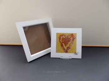 Free Frame * Pink and Yellow Energy Hearts - Energy Hearts Collection 15 x 15 cm by Janet Watson Art