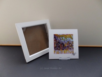 Free Frame * Purple Satin Flowers - Spinning Flowers Collection - 15 x 15 cm by Janet Watson Art