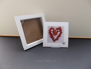 Free Frame * Red and Gold Energy Hearts - Energy Hearts Collection 15 x 15 cm  by Janet Watson Art