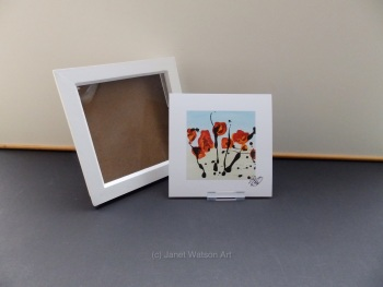 Free Frame * Red Contemporary Poppies - Contemporary Poppies Collection 15 x 15 cm  by Janet Watson Art