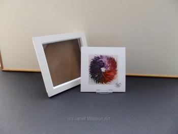 Free Frame * Rainbow Chakra - Spinning Flowers Print 15 x 15 cm by (c) Janet Watson Art