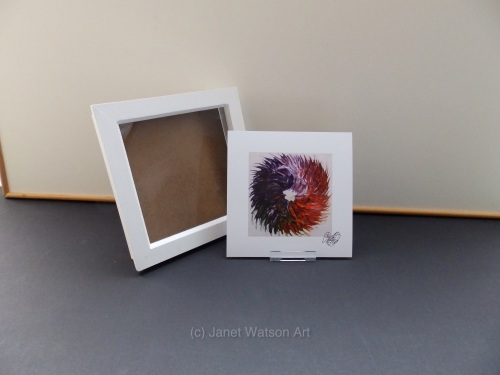 Free Frame * Rainbow Chakra - Spinning Flowers Print 15 x 15 cm by (c) Jane