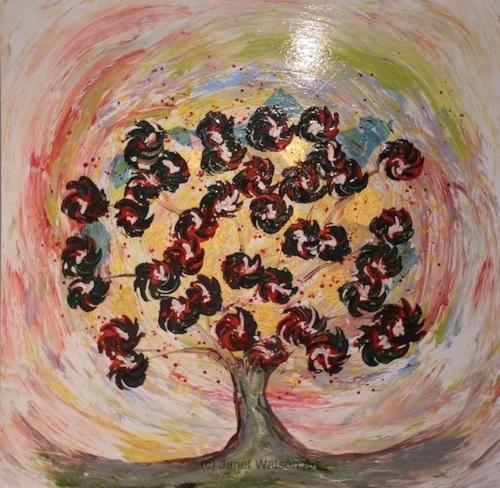 Scarlet Hawthorn - Spinning Flower Tree Collection - Original Artwork - 100