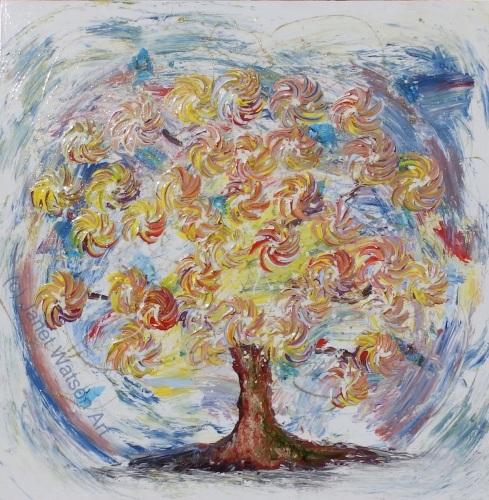 Honey Blue - Spinning Flower Tree Collection - Original Artwork - 100 x 100