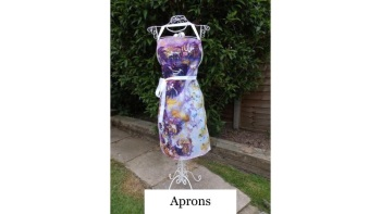Purple Satin - Apron - Spinning Flowers Collection - Plus Free Gift - Designed and Created by Janet Watson Art