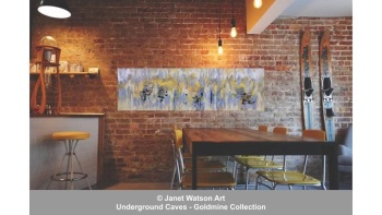 Sunshine Yellow - 30 x100cm – Underground Caves – Goldmine Collection – designed and created by (c) Janet Watson Art