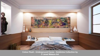 Colour Rush – 30 x 100 cm - Underground Caves – Goldmine Collection – designed and created by © Janet Watson Art