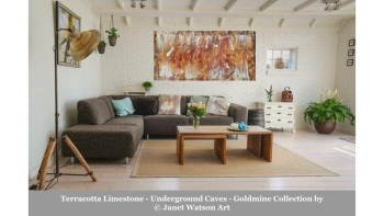 Terracotta Limestone – Underground Caves – Goldmine Collection – designed and created by (c) Janet Watson Art