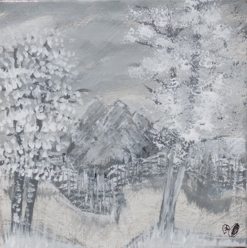Snowy Rocks by Janet Watson Art
