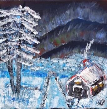 Snowy Cabin  by Janet Watson Art xx