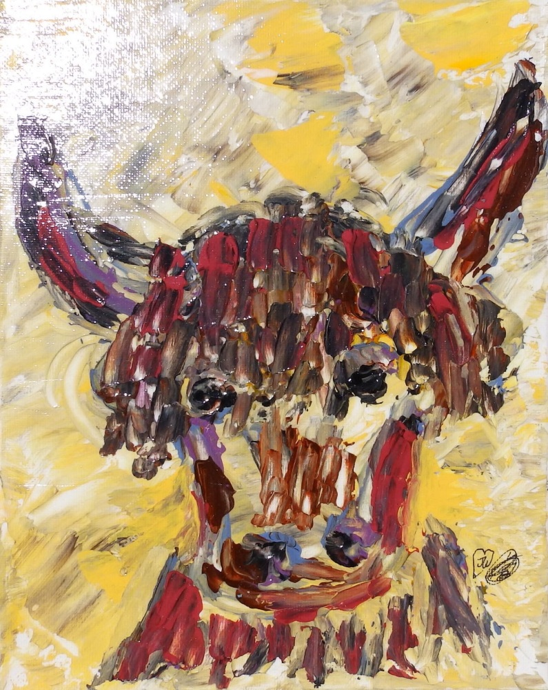 Friendly Cow designed and created by Janet watson Art xx