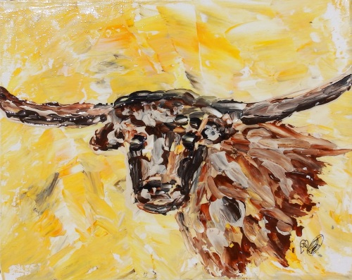 Longhorn designed and created by Janet watson Art xx