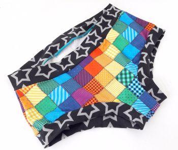 MEDIUM Boy Shorts UK 10-12 - Patchwork Rainbow