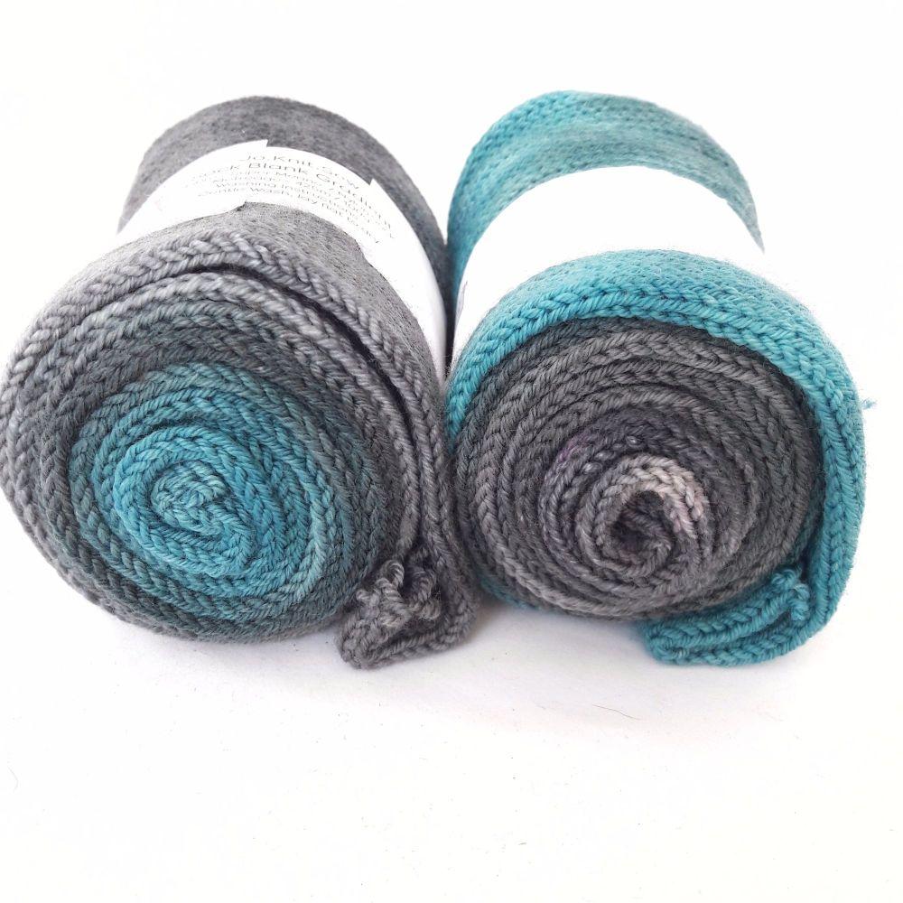 Teal to Grey on Merino Nylon sock