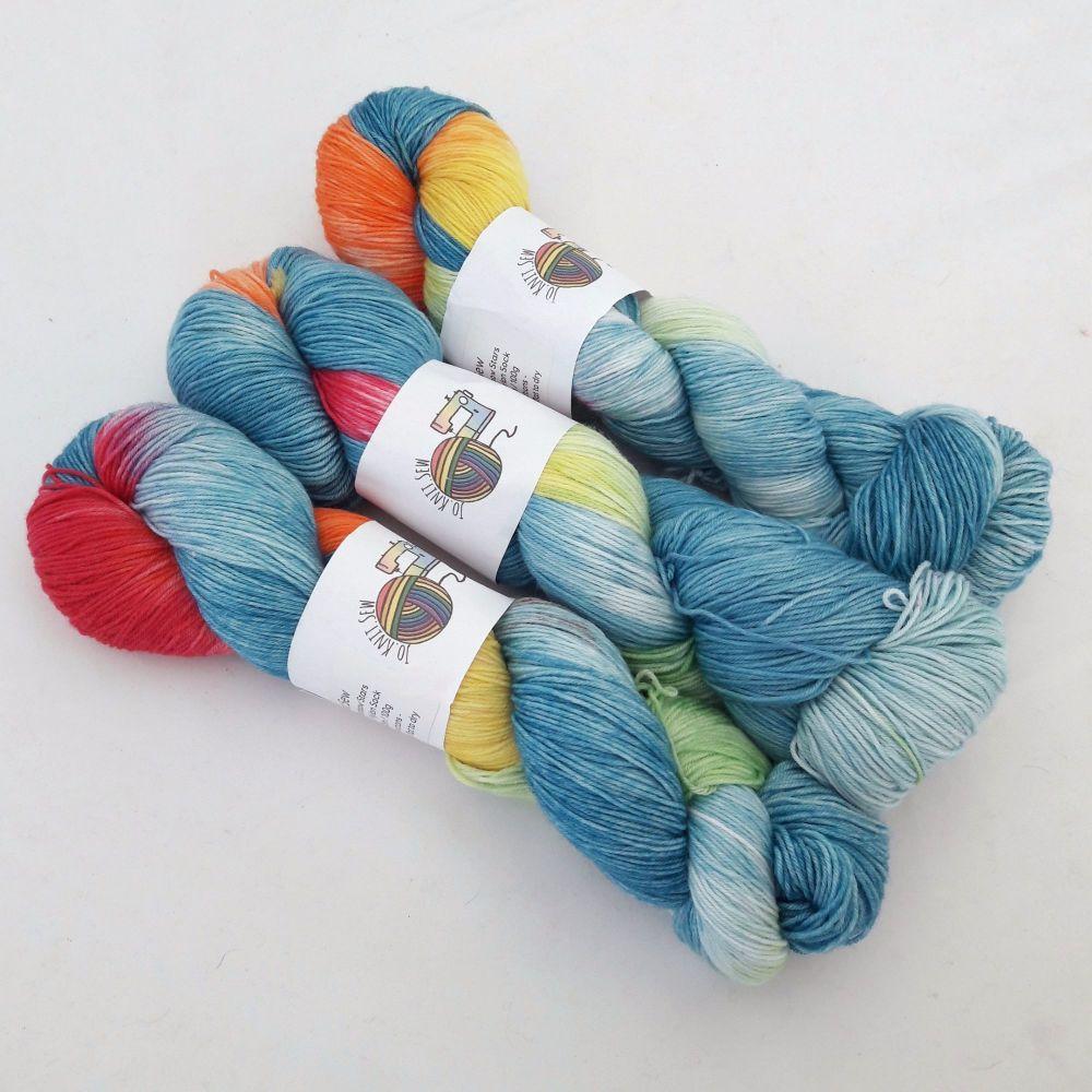 Rainbow Stars on Merino Nylon Platinum sock