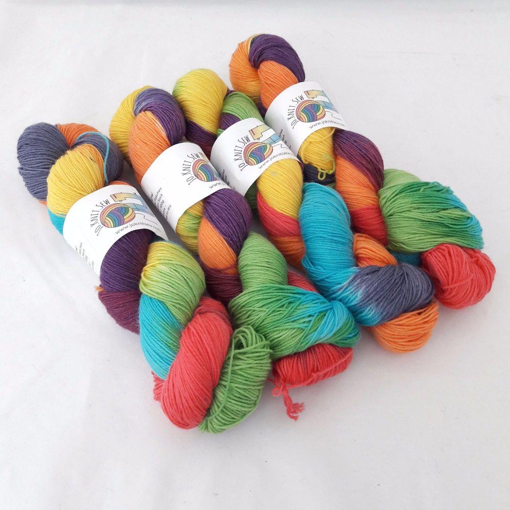 Rainbow Round on Merino Nylon Platinum sock