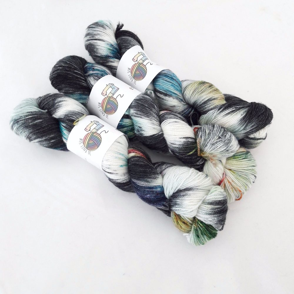 Chaos Reigns on Silver Sparkle Sock