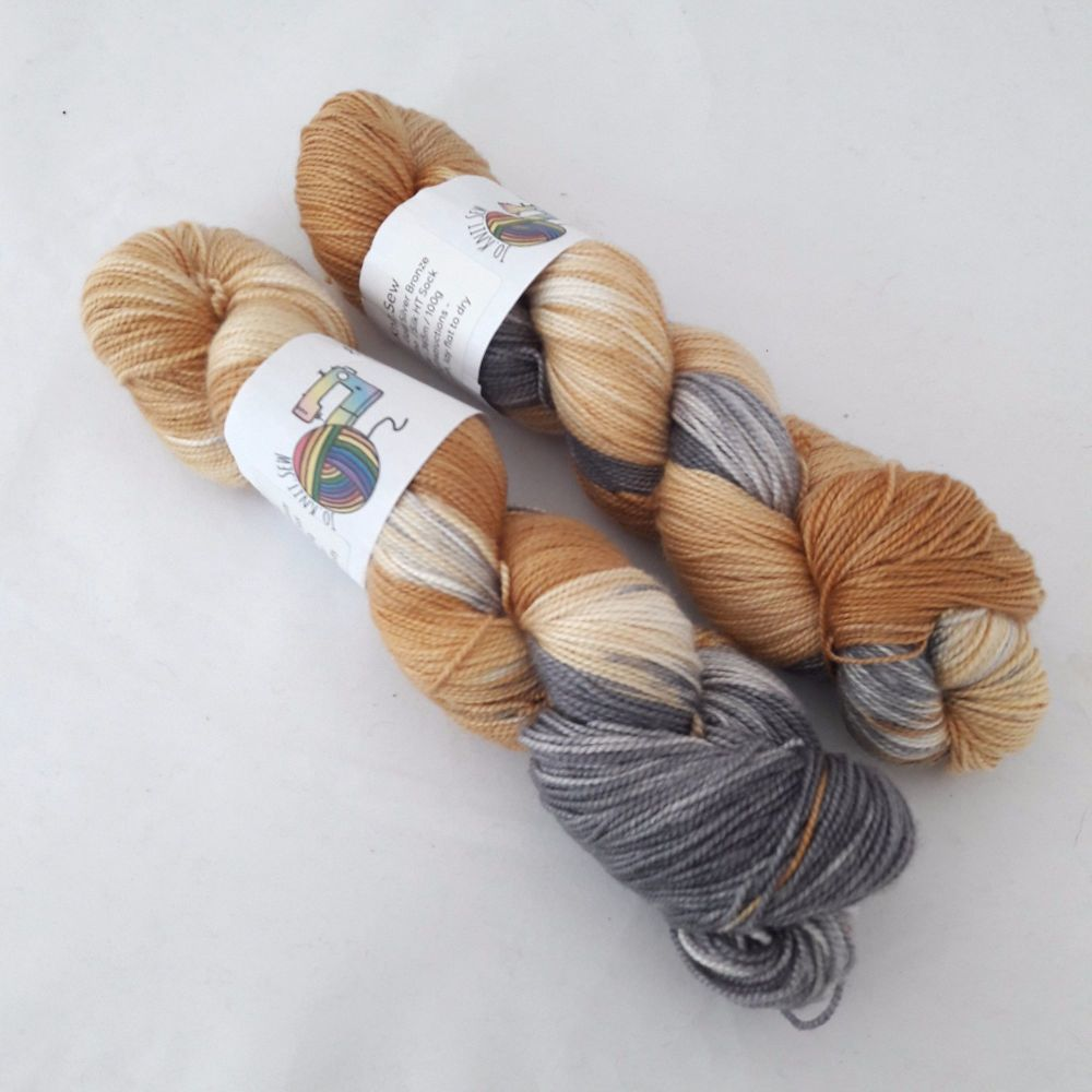 Gold Silver Bronze on Merino Silk High Twist Sock