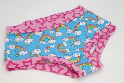 LARGE Boy Shorts UK 14-16 - Pink Rainbows