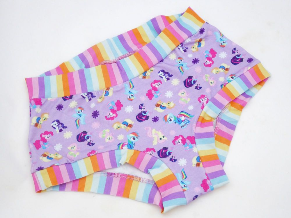 LARGE Boy Shorts UK 14-16 - Purple Ponies