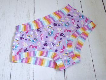 XL Boy Shorts UK 18-20 - Purple Ponies