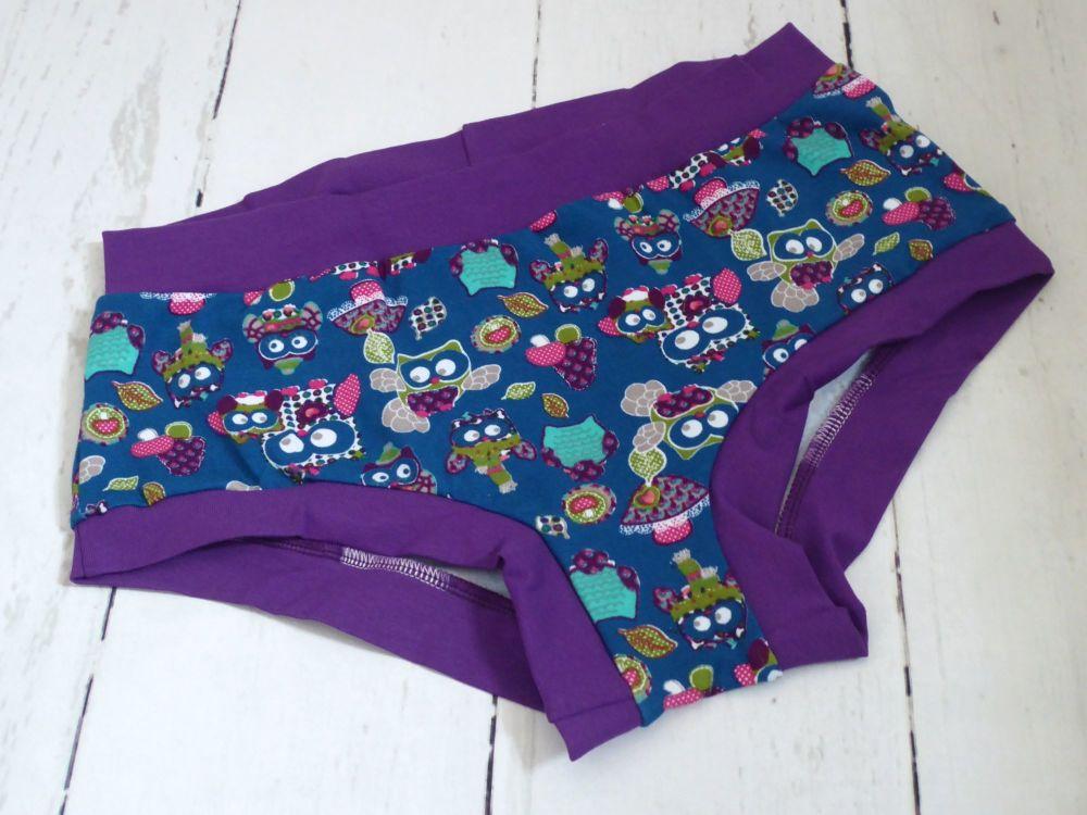 Medium Boy Shorts UK 14-16 - Teal Owls