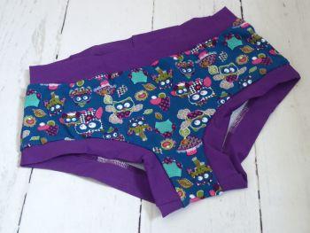 Medium Boy Shorts UK 10-12 - Teal Owls