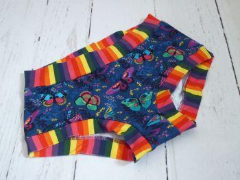 SMALL Boy Shorts UK 6-8 - Rainbow Butterflies