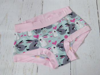 SMALL Boy Shorts UK 6-8 - Bunny Love