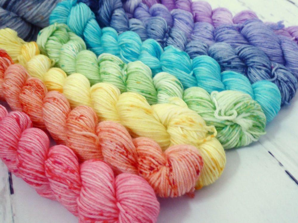 Speckled Rainbow Shawl Kit DARKER VERSION on Merino / Nylon sock