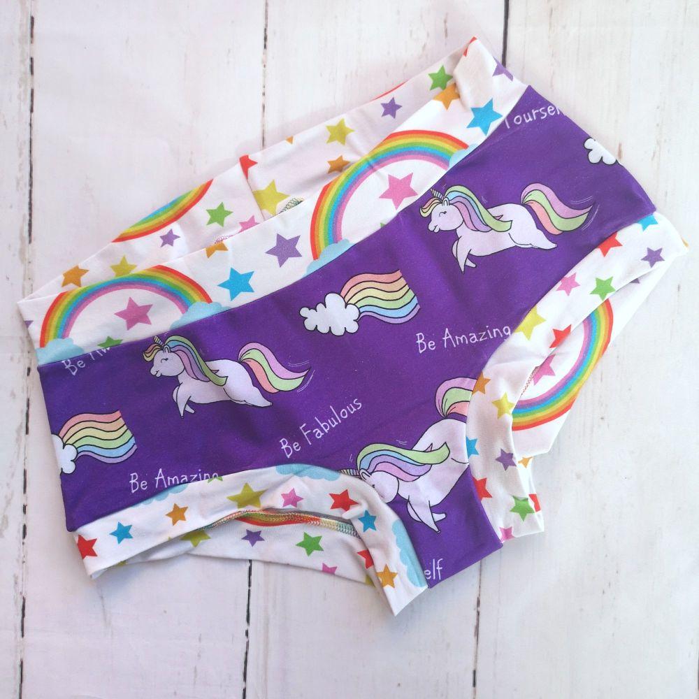 MEDIUM Boy Shorts UK 10-12 - Awesome Unicorns