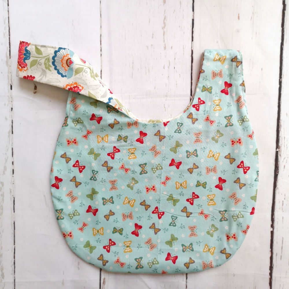 Butterfly / Floral Medium Project Bag (Zip Pocket)