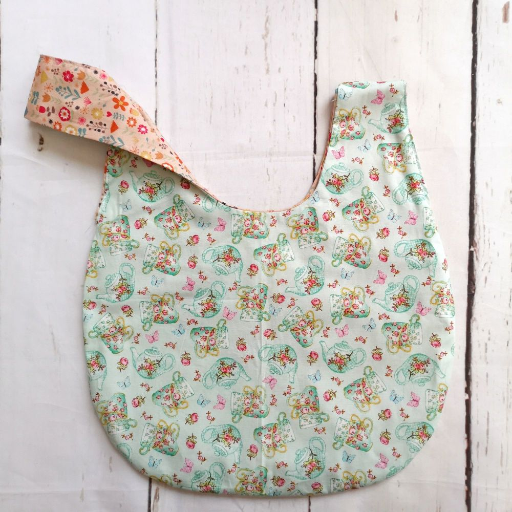 TeaPot / Coral Flowers Medium Project Bag (Zip Pocket)