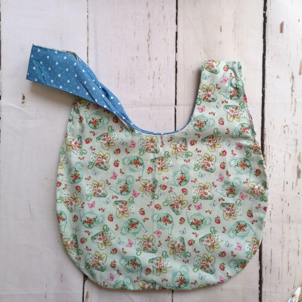 TeaPot / Blue Hearts Medium Project Bag (Slip Pocket)