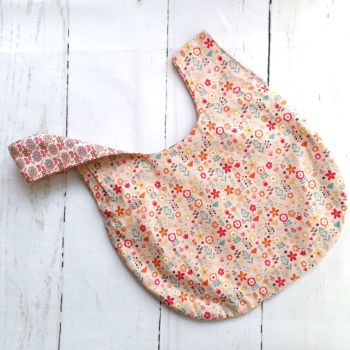Coral Flowers / Retro Floral Medium Project Bag (Zip Pocket)